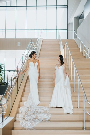 brides on the stairs