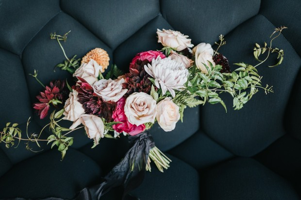 elegant and moody bridal bouquet