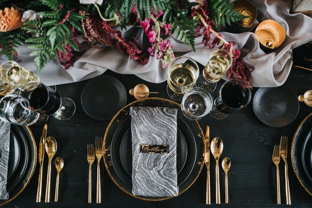 gold black and grey marble wedding place setting