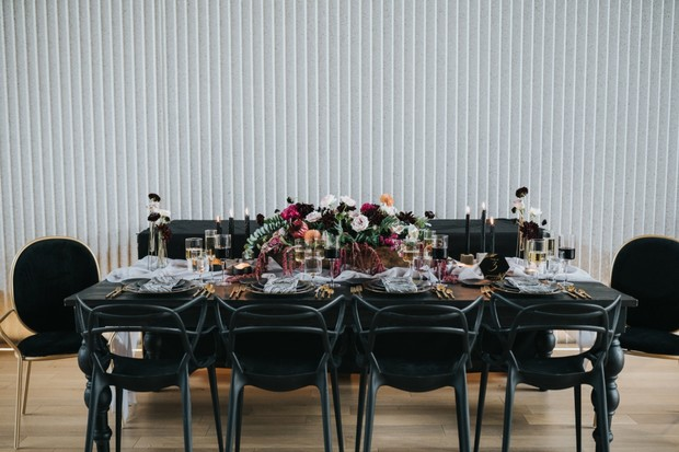 modern chic industrial wedding table