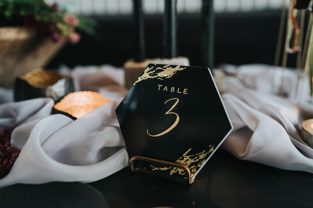 modern gold and black table number