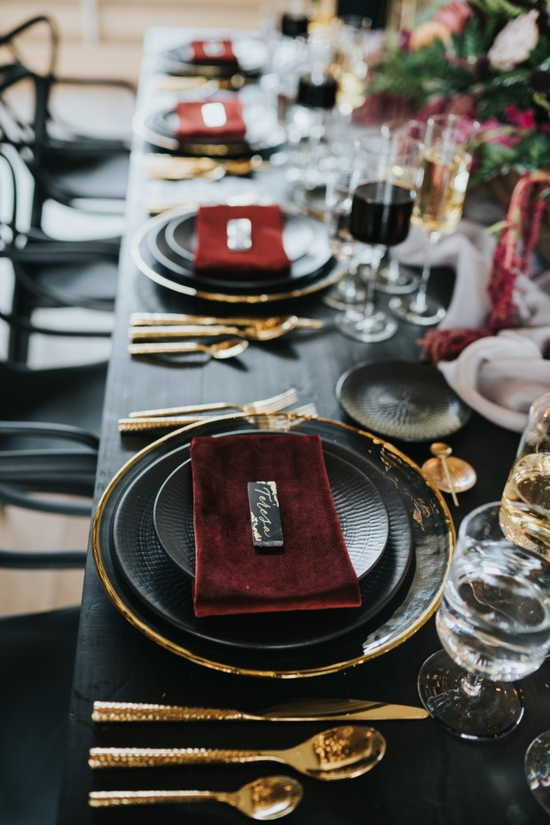 gold and black with red velvet linen