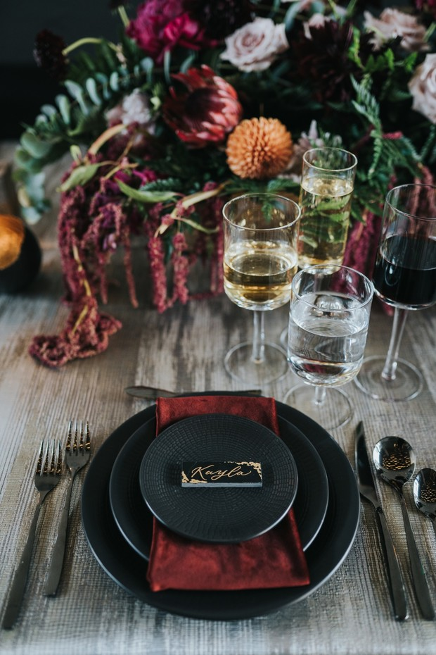 black and red place setting