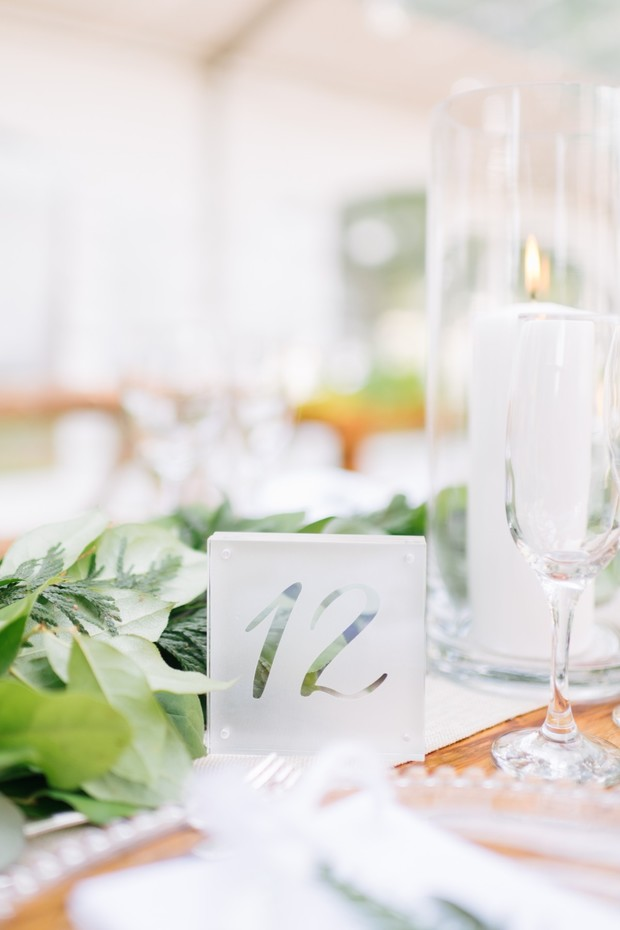 frosted glass table number