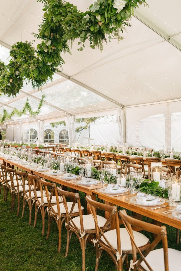family style tented wedding reception