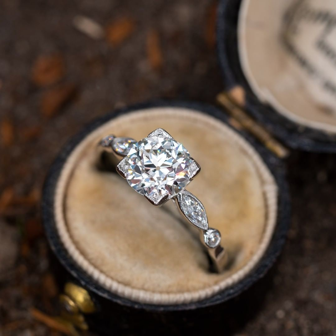 Is it just me or is this pretty much the perfect antique engagement ring? The diamond is a 1.5 carat old European cut, likely 1930s
