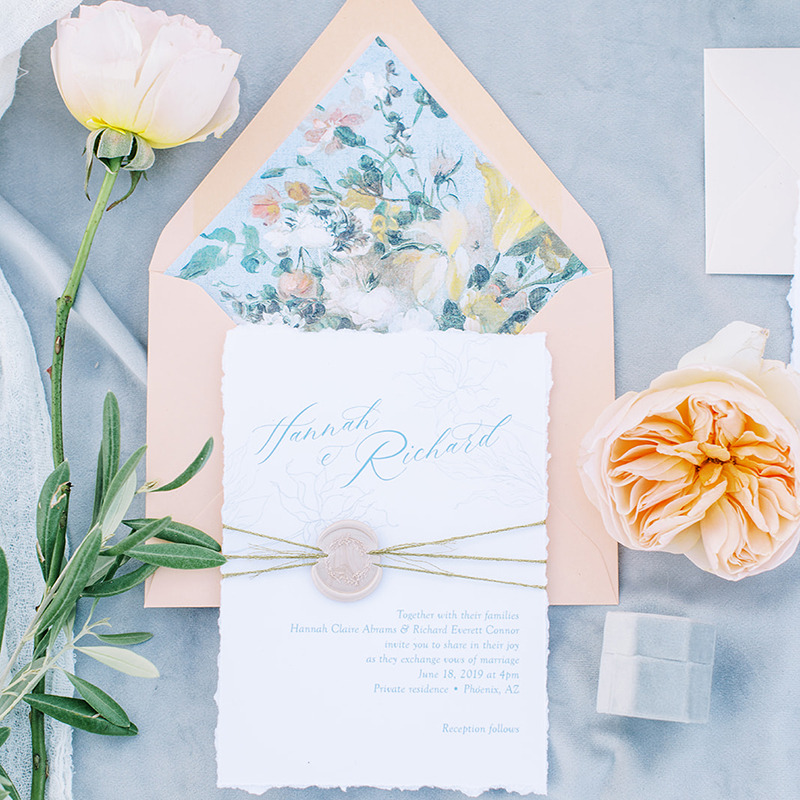 The Perfect Summer wedding invitation. Our Hannah wedding invitation suite features both modern and vintage elements. The invitation