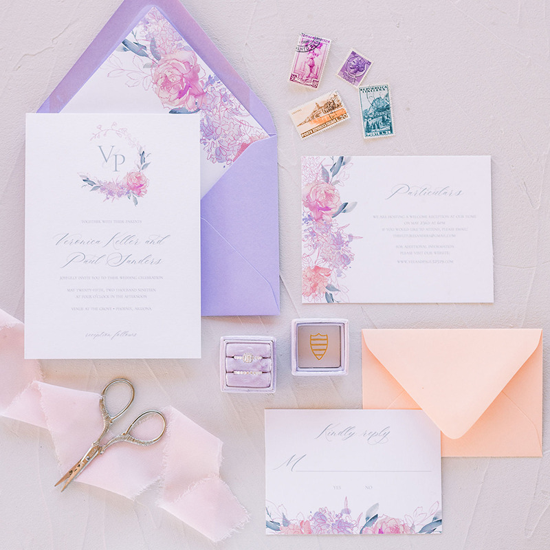Such a bright and beautiful color palette! Perfect for a Summer celebration, this colorful watercolor garden wedding invitation is