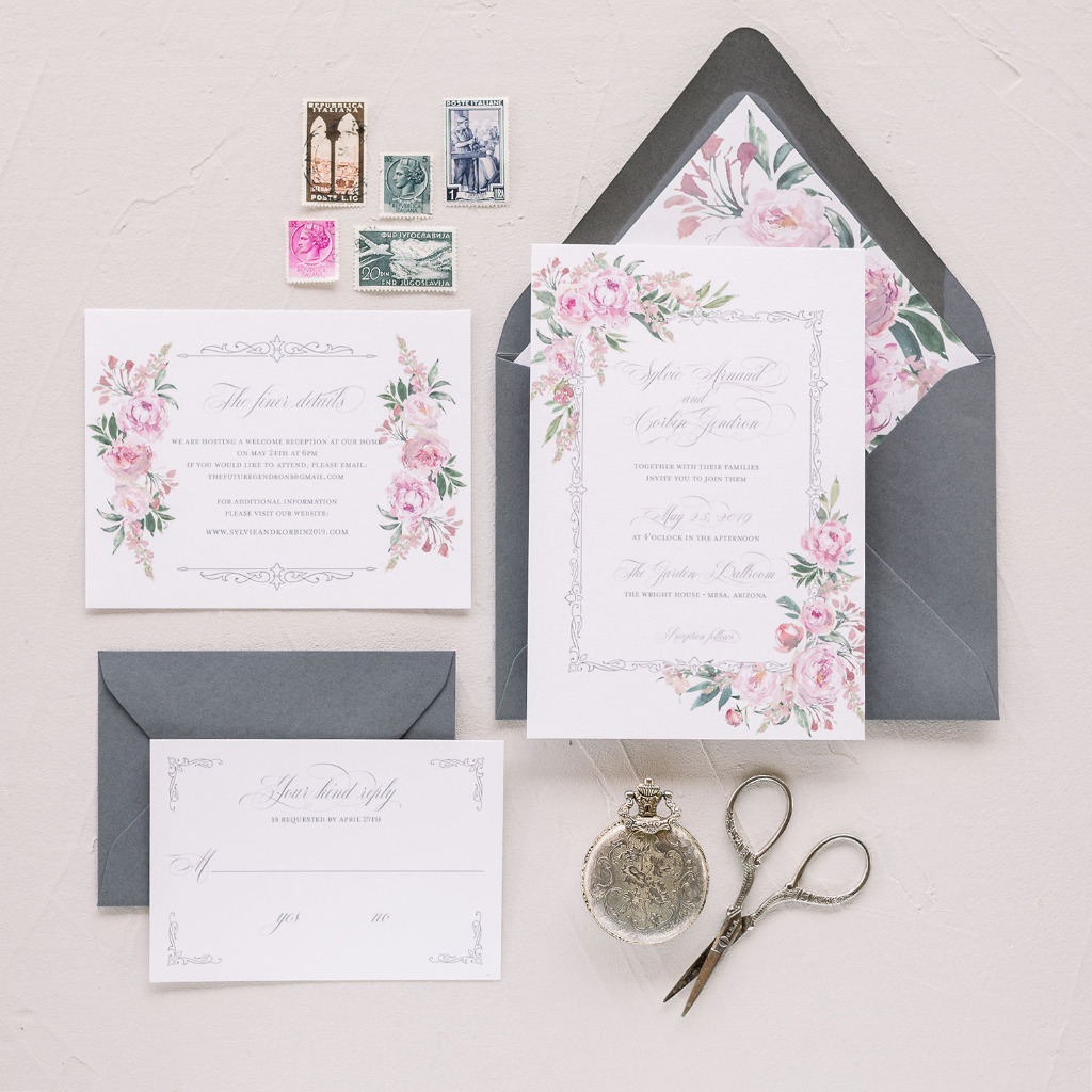 This is one of my favorites! Our Sylvie Romantic Roses wedding invitation is probably our most feminine design. Throughout the suite