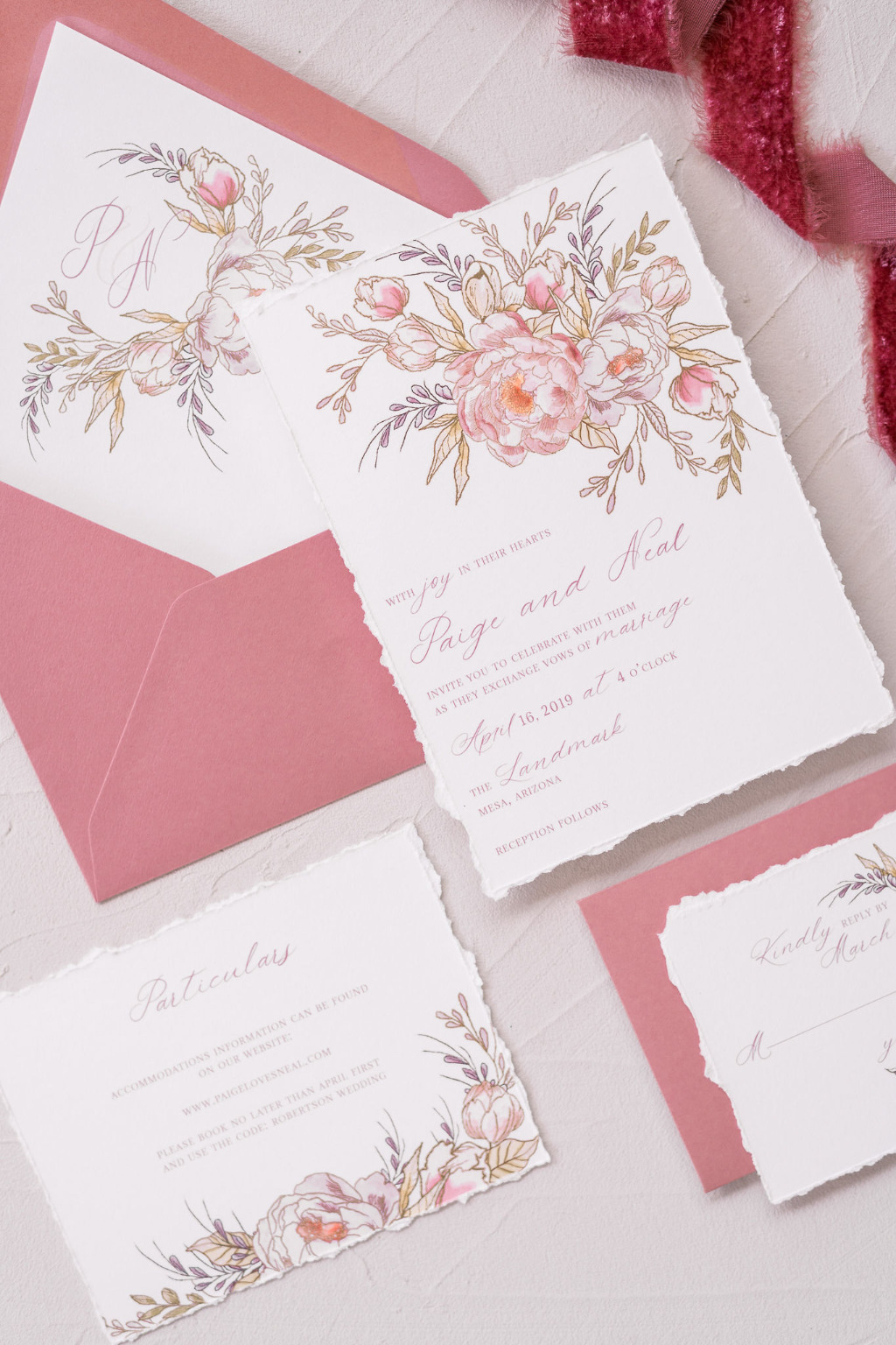 Our most popular wedding invitation! Our Paige Wedding invitation suite features delicate line drawn florals and watercolor on an ivory