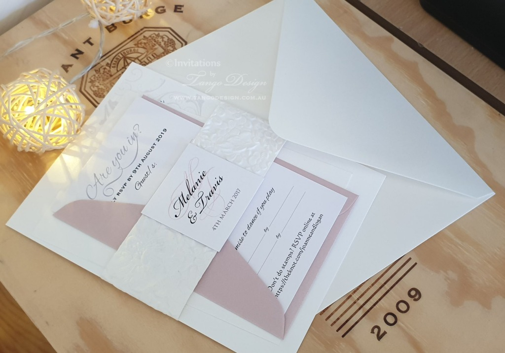 All in one! modern floral set with invitation, RSVP, reception card and envelopes.