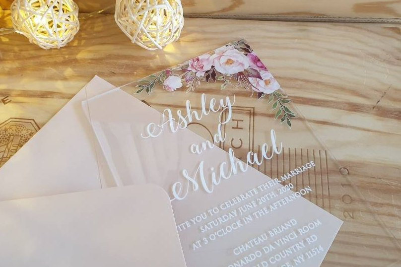 Acrylic unforgettable wedding invitations with CUSTOM DESIGN. Floral, initials, or just text.