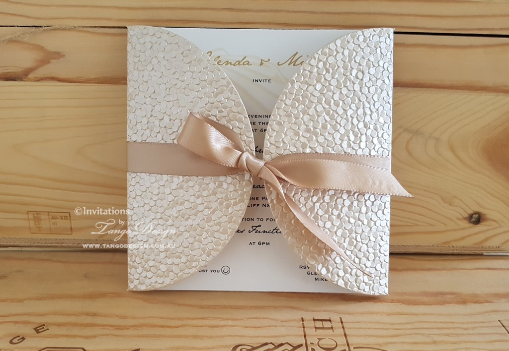 Stunning champagne paper with shimmer wrapping your wedding card with custom ribbon. Many colors available,