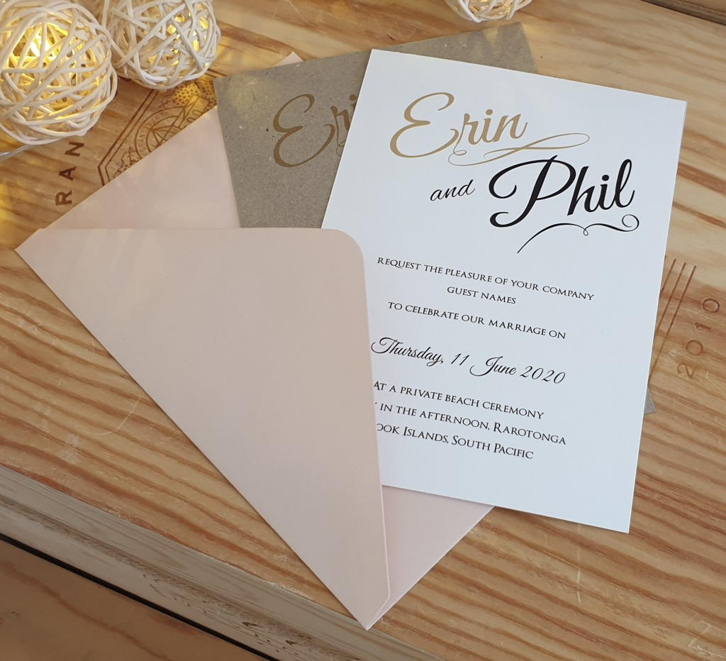 Simple printed invitations with script and modern typography