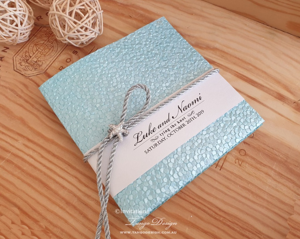 Modern starfish invitation, check out our new colors