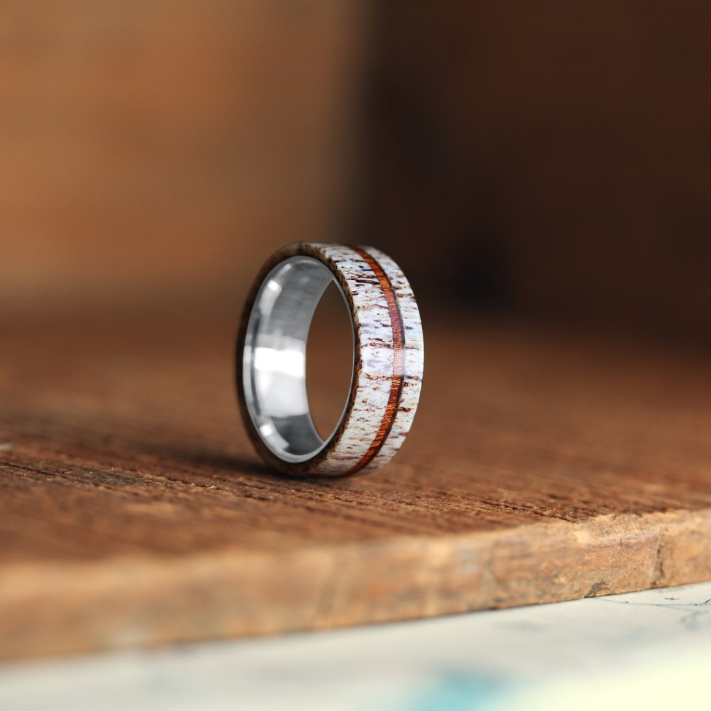 Men's deer antler wedding ring with wood stripe. The Michigan Buck ring.