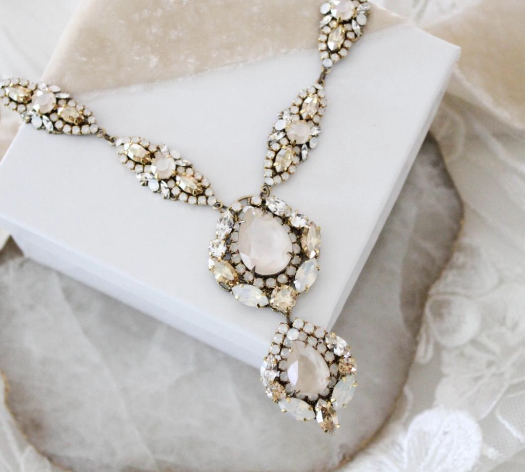 Antique gold Swarovski crystal Bridal necklace created in an antique gold finish