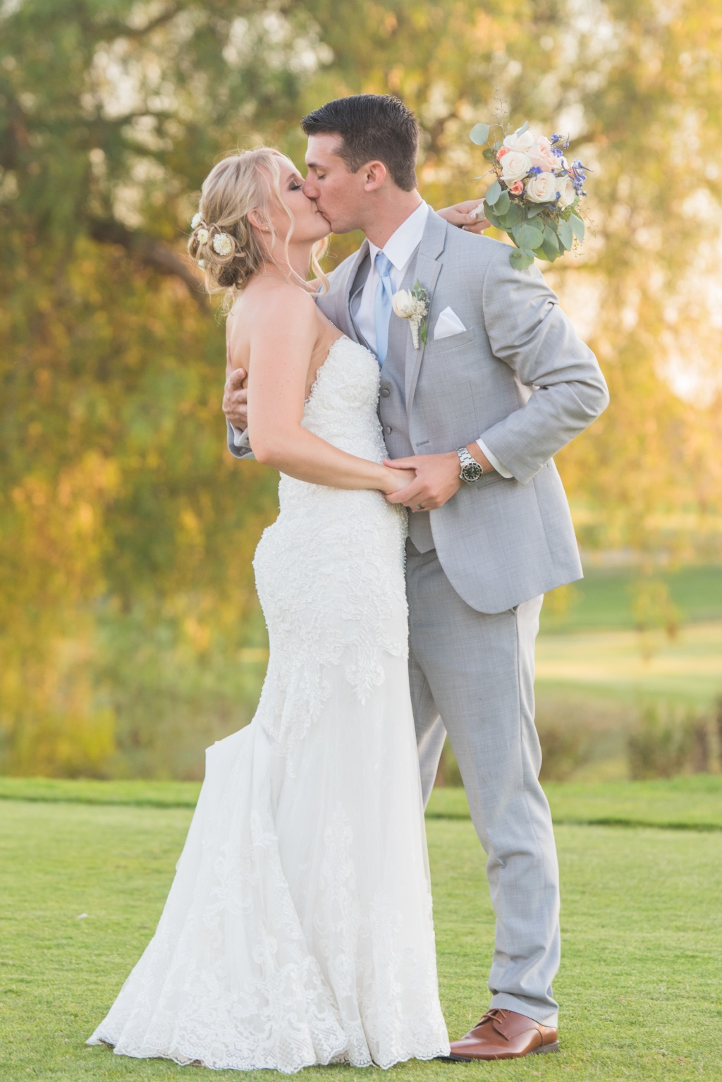 Bright, colorful, airy images. Using the golden hour light to our advantage we captured this sweet kiss.