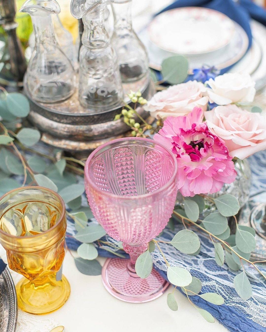 We love the mismatched glass trend! It added such a fun, whimsical vibe to our table setting!