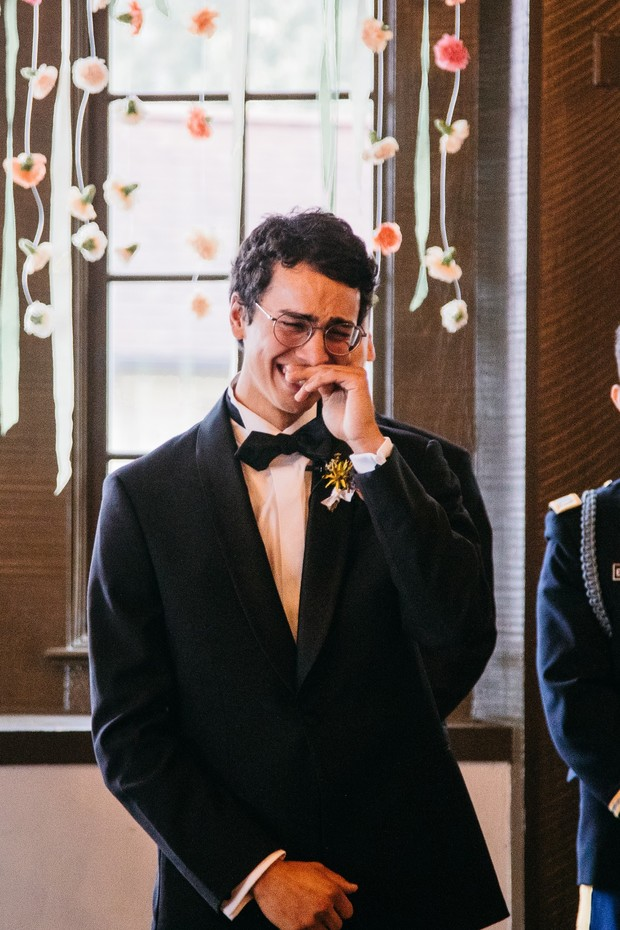 first look reaction from groom