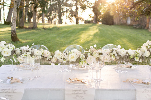 all white wedding table setting