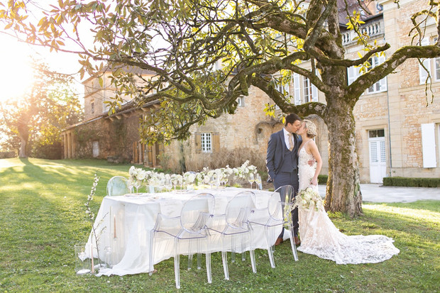 outdoor wedding reception in France