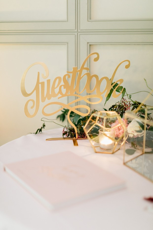gold guestbook sign