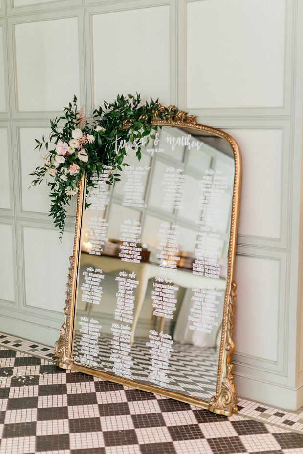 mirror seating chart display