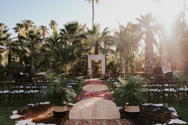 edgy boho wedding ceremony in Mexico