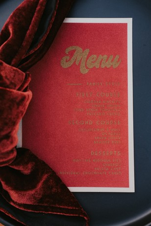red and gold wedding menu