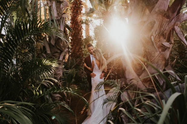 wedding portraits in the jungle at sunset
