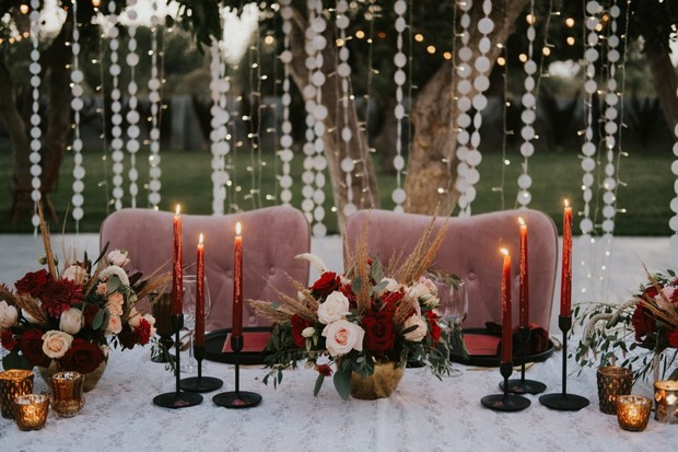 dusty pink burgundy and gold wedding sweetheart table