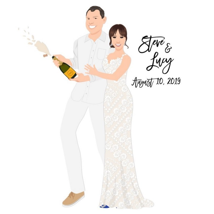 We are loving the all-white tux on the groom and the lace bridal gown! No wonder these two are poppin' champagne, they look AMAZING