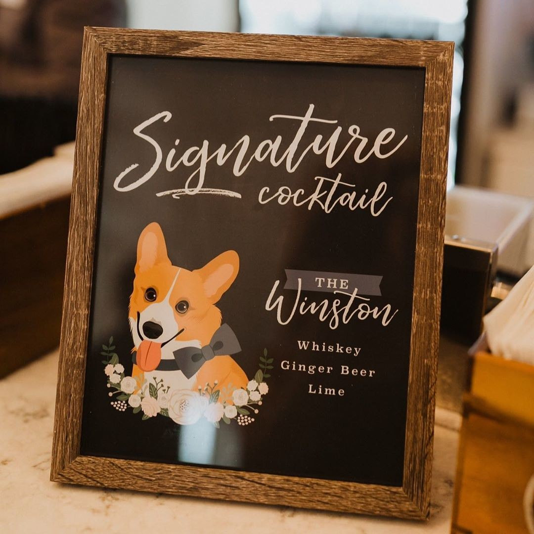 Adorable pups deserve a spotlight on your big day, so a custom cocktail sign will surely be a hit! (And honestly, who wouldn't want