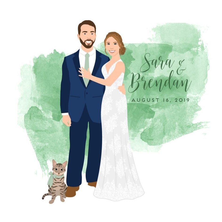 Don't mind us, we're just GREEN with envy over this guestbook! 💚 We are loving how the groom and the oh-so-adorable kitty are matching