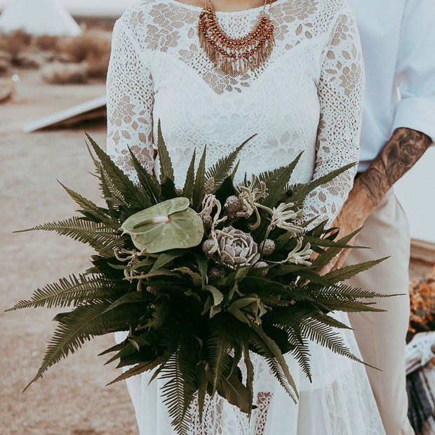 greenery wedding bouquet with cannabis