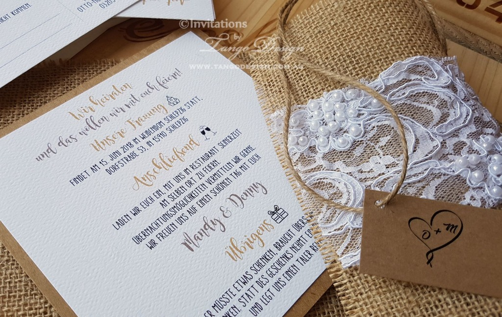 Burlap with beaded lace invitation, for rustic or shabby chic, country weddings.