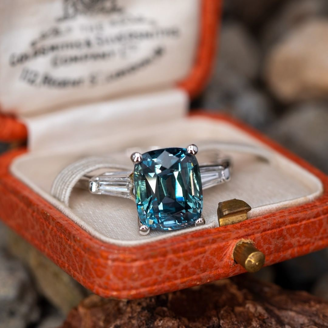 One of our favorite new arrivals, a no heat Montana sapphire shimmering with fantastic blues and greens.