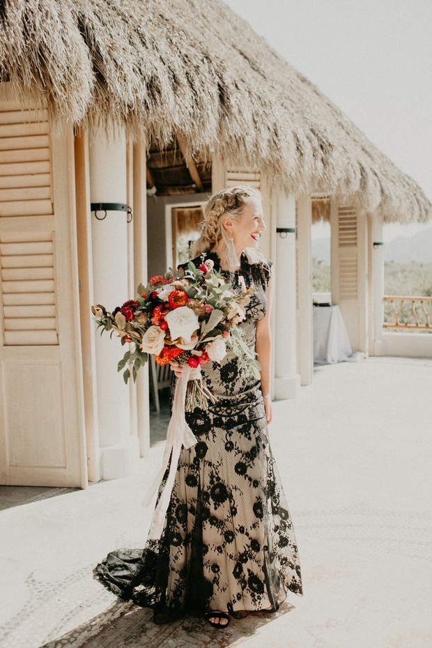 black lace wedding dress from Claire Pettibone