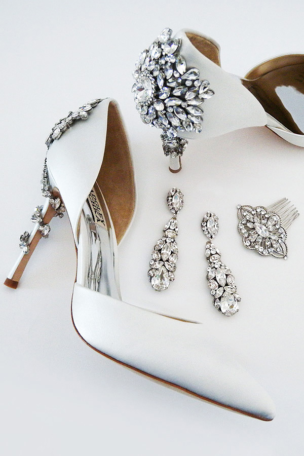 Everything you need after the dress. Wedding Shoes, Jewelry, Hair Accessories and more. Shown Badgley Mischka Vogue wedding shoes