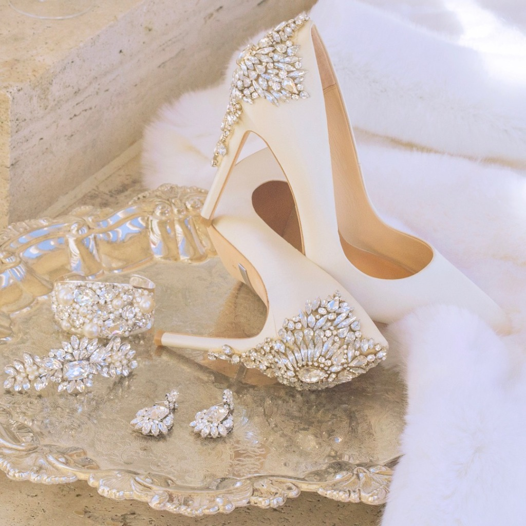 Everything you need after the dress. Shoes, Jewels, Hair Accessories & more. Shown: Badgley Mischka shoes, Cheryl King Couture