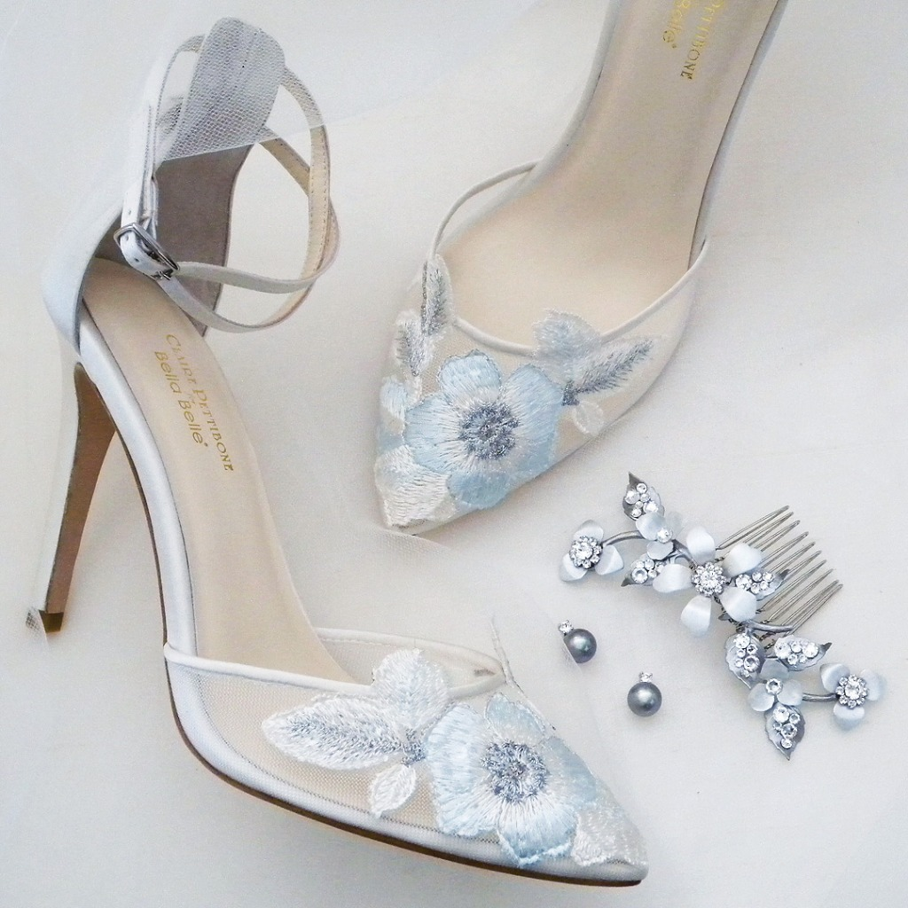 Everything you need after the dress and something blue. Shoes, Jewelry, Headpieces and more. Shown: Bella Belle Freya Wedding Shoes