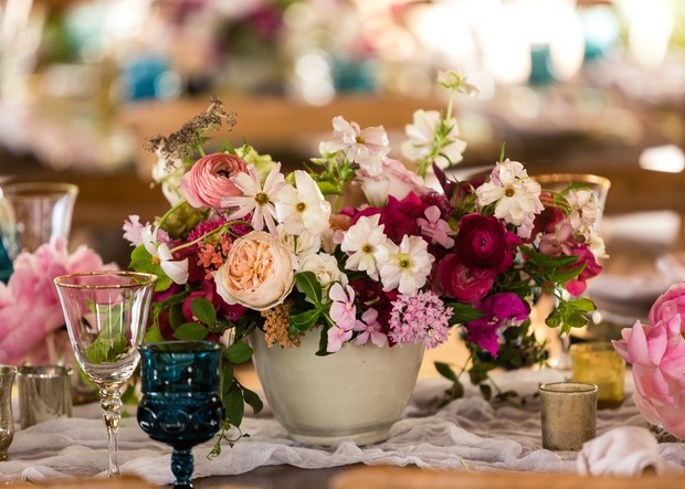 magenta wedding floral centerpiece