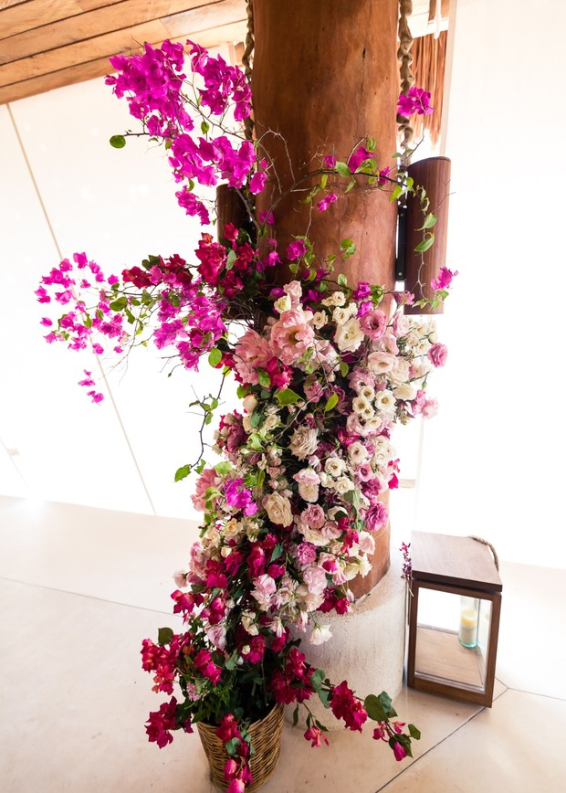 magenta wedding flower installation