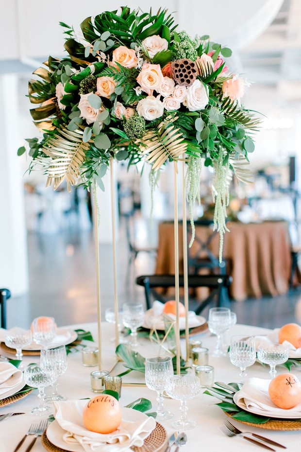 tropical and modern wedding table decor
