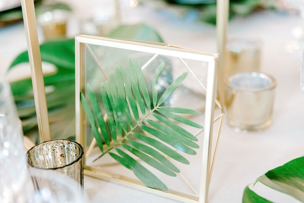 gold and greenery wedding decor