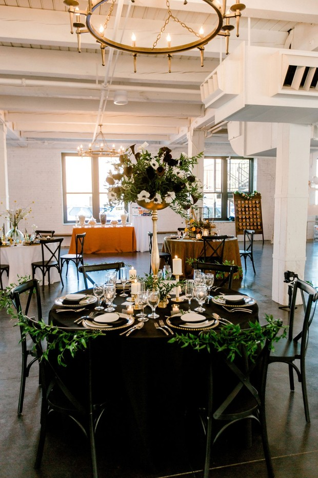 gold and black formal table decor
