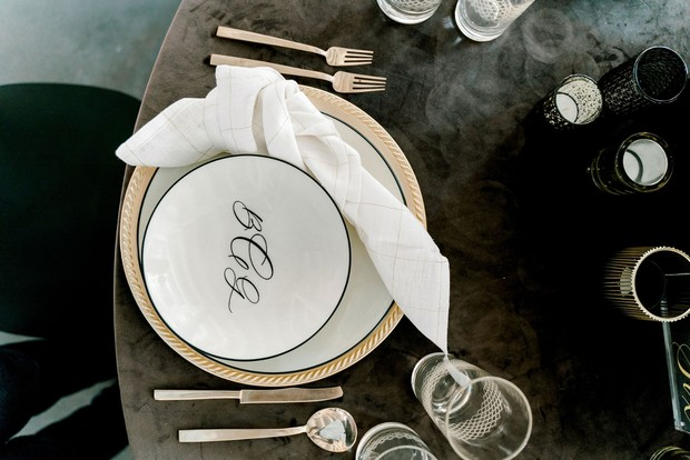 grey and gold masculine midcentury modern table setting