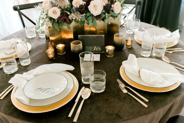 gold and grey table decor