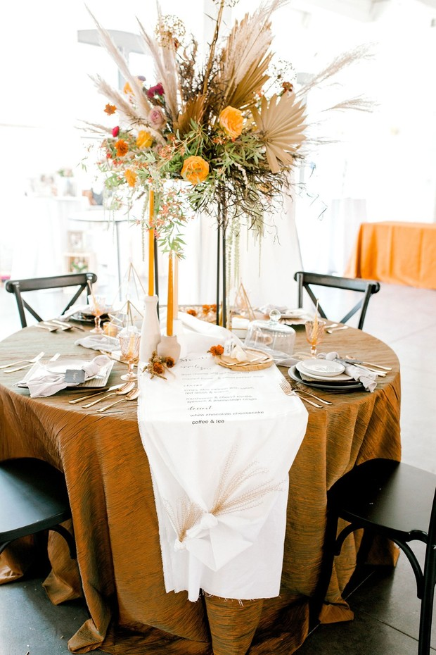 orange and vintage inspired table decor